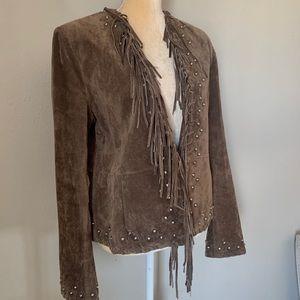 Montanaco Brown Leather Fringe Jeweled Jacket L